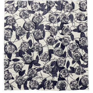Roses in Bluem Shower Curtain