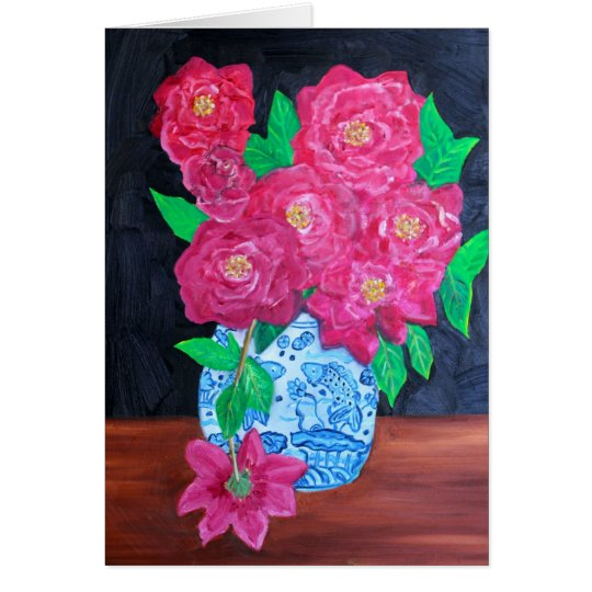 Roses in Chinese Vase Card