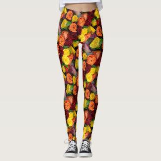 Roses in Fall Colors - Leggings