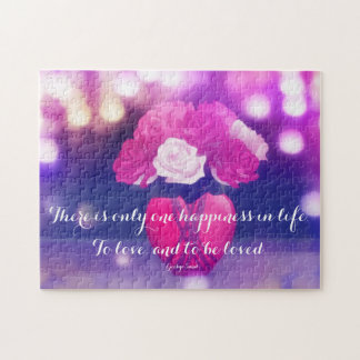 Roses in Heart Vase with Love Quote Puzzle