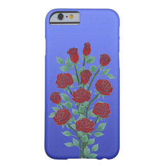Roses in Red on Blue Background Barely There iPhone 6 Case