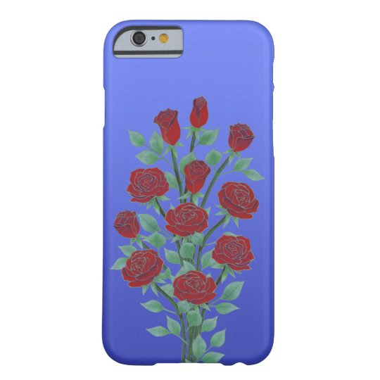 Roses in Red on Blue Background Barely There