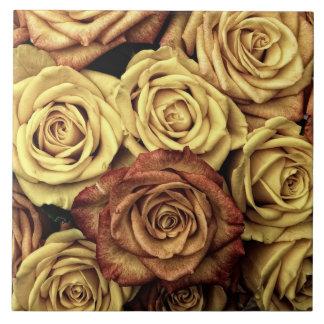 Roses in Sepia Tone Large Square Tile