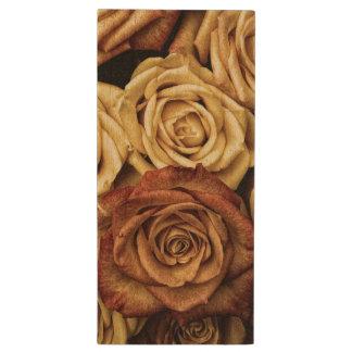 Roses in Sepia Tone Wood USB 3.0 Flash Drive