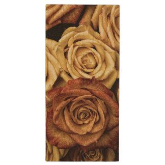 Roses in Sepia Tone Wood USB 3.0 Flash Drive