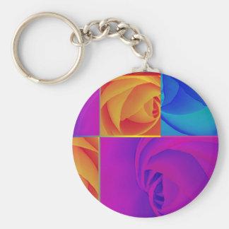 Roses Basic Round Button Key Ring