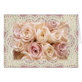 ROSES & LACE by SHARON SHARPE Greeting Card