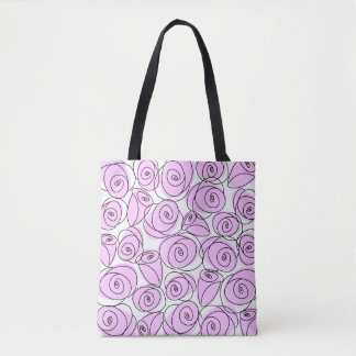 Roses Lilac all over tote checked back