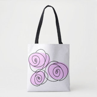 Roses Lilac Bouquet all over tote checked back Tote Bag