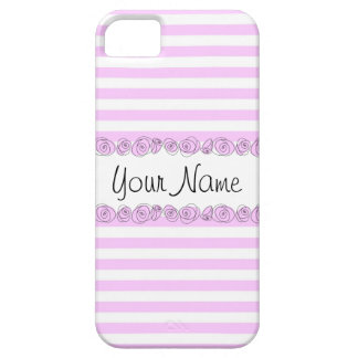 Roses Lilac 'Name' striped iPhone 5 case vertical