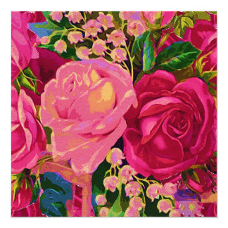 Roses & Lily of the Valley 13 Cm X 13 Cm Square Invitation Card