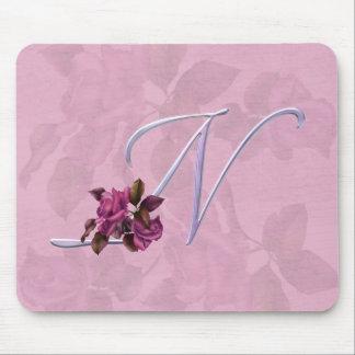 Roses Monogram N Mouse Pad