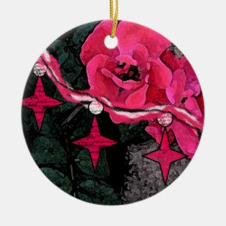 Roses n' Stars Watercolor Ornament