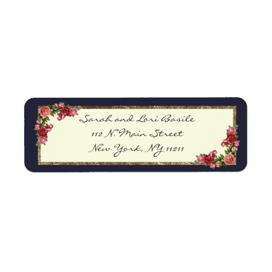 Roses Navy Blue and Gold Sweet 16 Invitations