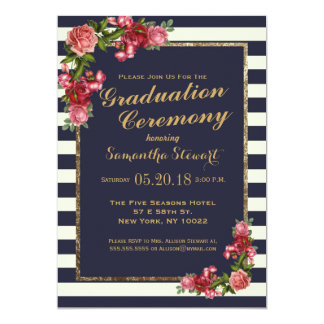 Roses Navy Stripes and Gold Graduation Ceremony 13 Cm X 18 Cm Invitation Card