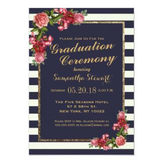 Roses Navy Stripes and Gold Graduation Ceremony 13 Cm X 18 Cm Invitation Card