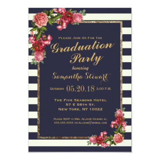 Roses Navy Stripes and Gold Graduation Party 13 Cm X 18 Cm Invitation Card