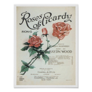 Roses of Picardy Vintage Songbook Cover Posters