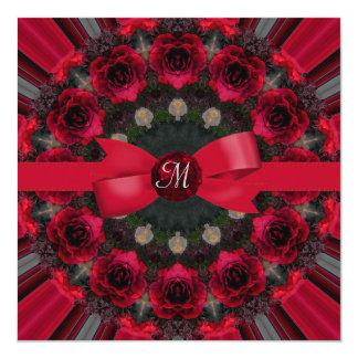 Roses Of Red Mandala Wedding 13 Cm X 13 Cm Square Invitation Card