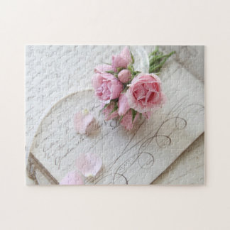 Roses on 18th century page jigsaw puzzle
