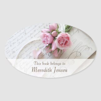 Roses on 18th century page lower fade bookplate oval sticker