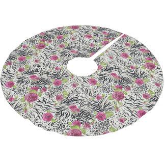 Roses On Animal Pattern Brushed Polyester Tree Skirt