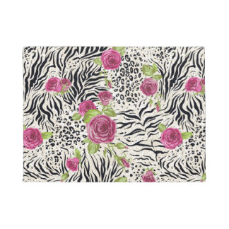 Roses On Animal Pattern Doormat