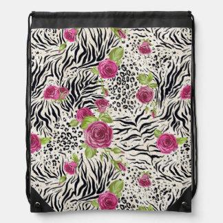 Roses On Animal Pattern Drawstring Bag