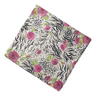 Roses On Animal Pattern Head Kerchief