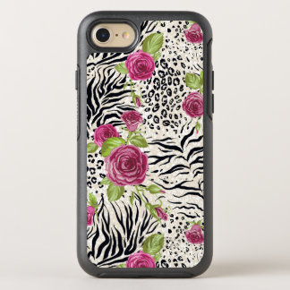 Roses On Animal Pattern OtterBox Symmetry iPhone 8/7 Case