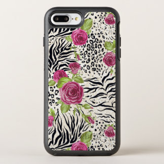 Roses On Animal Pattern OtterBox Symmetry iPhone 8 Plus/7 Plus Case