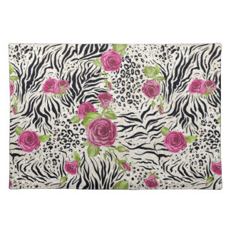 Roses On Animal Pattern Placemat