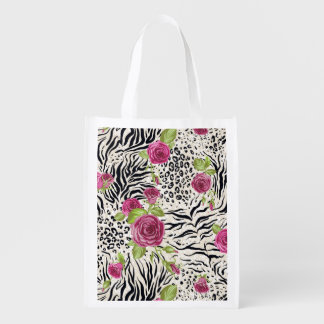 Roses On Animal Pattern Reusable Grocery Bag