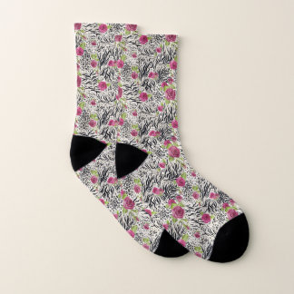 Roses On Animal Pattern Socks