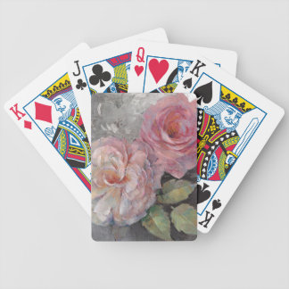 Roses on Gray Bicycle Playing Cards