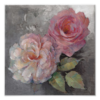Roses on Gray Poster