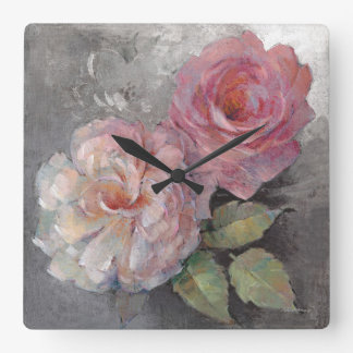 Roses on Gray Square Wall Clock