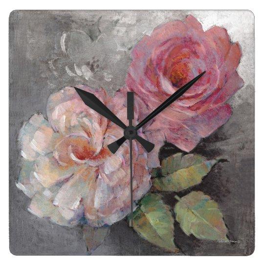 Roses on Grey Wall Clock