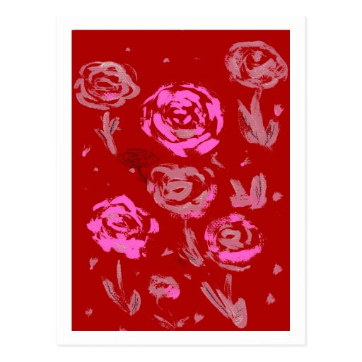 Roses Painting red background abstract Post Cards