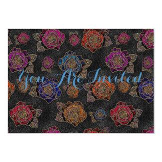 Roses Pattern Fabric 13 Cm X 18 Cm Invitation Card