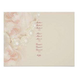 Roses pearls pink elegant menu romantic custom invites