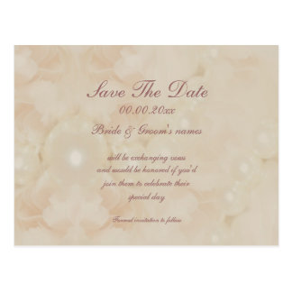 Roses pearls pink save the date invitations postcard
