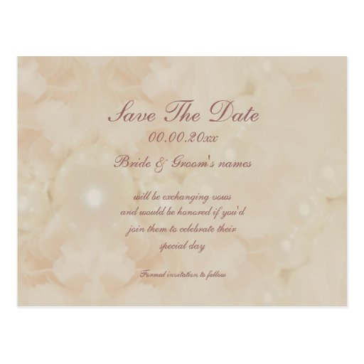 Roses pearls pink save the date invitations post cards