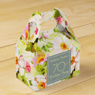Roses Peonies 70th Birthday Thank You Favor Box Wedding Favour Box