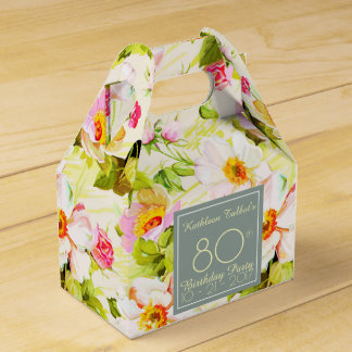 Roses Peonies 80th Birthday Thank You Favor Box Favour Boxes