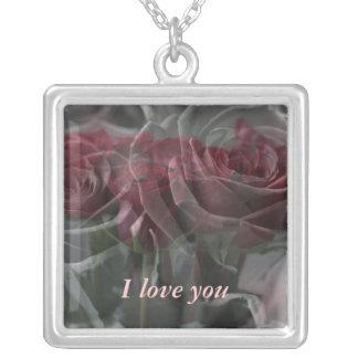 Roses Personalized Text Silver Plated Necklace