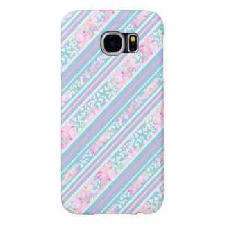 Roses, Pink Blue Stripes Samsung Galaxy S6 Case
