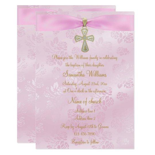Roses, Pink Ribbon & Gold Cross Baptism Card