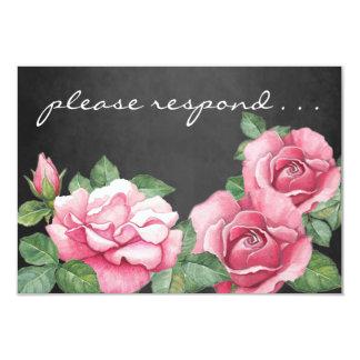 Roses: Pink Watercolor Roses RSVP Card 9 Cm X 13 Cm Invitation Card