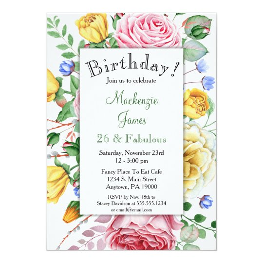 Roses Pink Yellow Floral Birthday Invitation